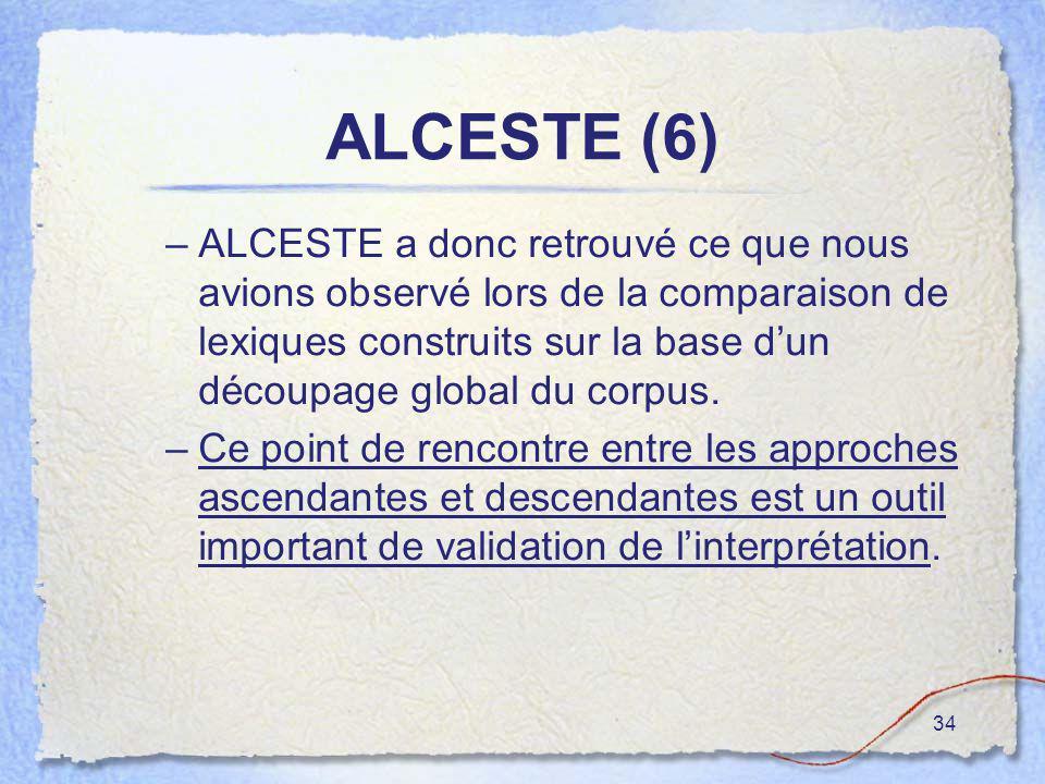 34 ALCESTE (6) –ALCESTE a donc retrouvé ce que nous avions observé lors de la comparaison de lexiques construits sur la base dun découpage global du c