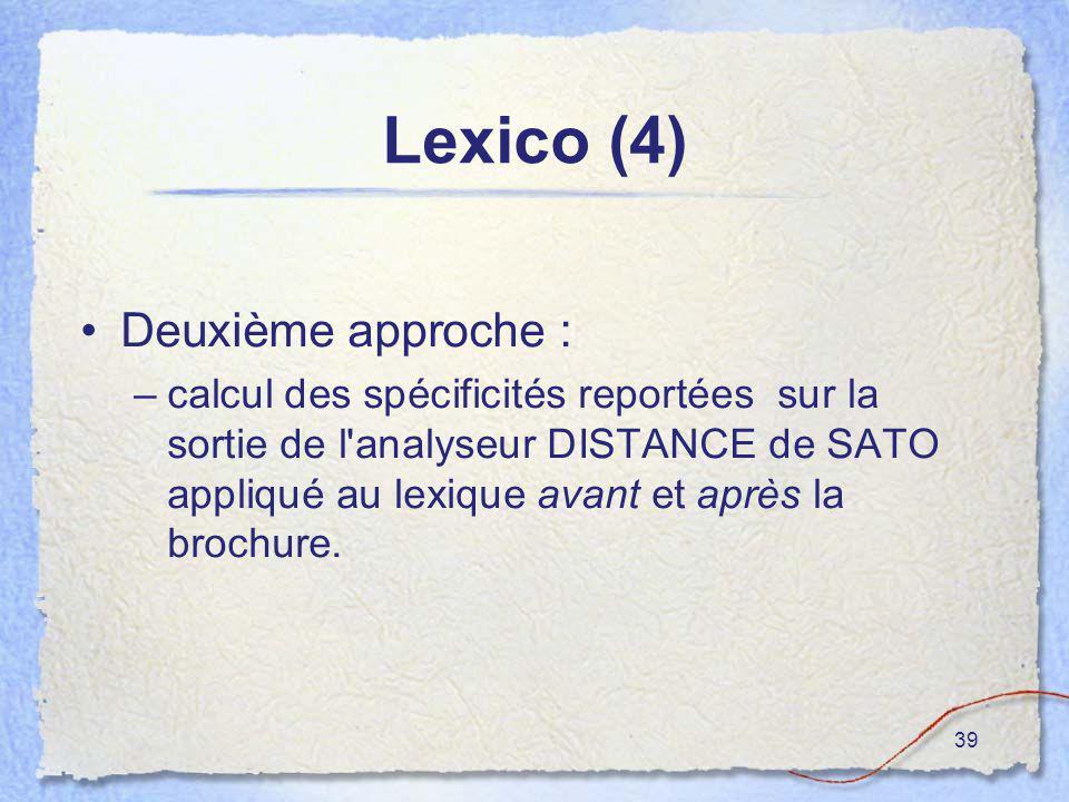 39 Lexico (4) Deuxième approche : –calcul des spécificités reportées sur la sortie de l'analyseur DISTANCE de SATO appliqué au lexique avant et après