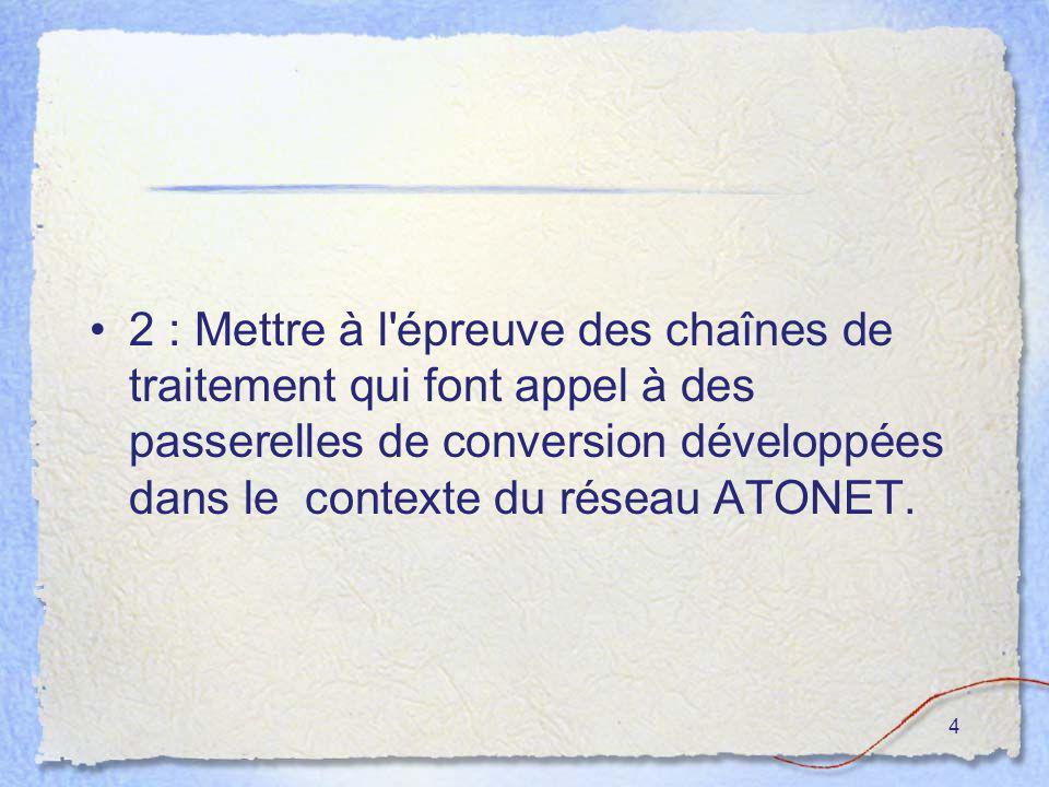 4 2 : Mettre à l'épreuve des chaînes de traitement qui font appel à des passerelles de conversion développées dans le contexte du réseau ATONET.