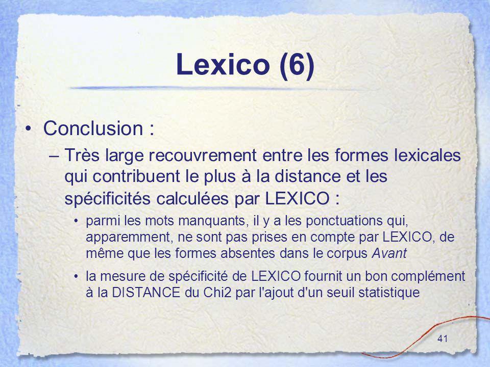 41 Lexico (6) Conclusion : –Très large recouvrement entre les formes lexicales qui contribuent le plus à la distance et les spécificités calculées par