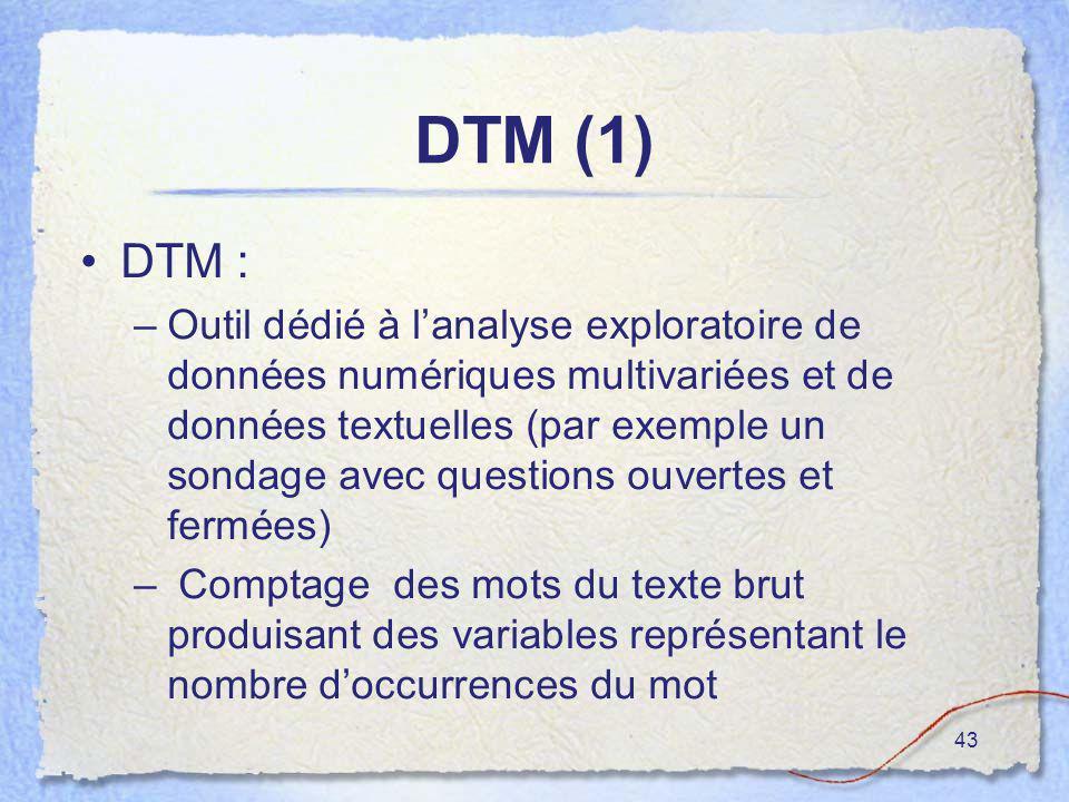 43 DTM (1) DTM : –Outil dédié à lanalyse exploratoire de données numériques multivariées et de données textuelles (par exemple un sondage avec questio