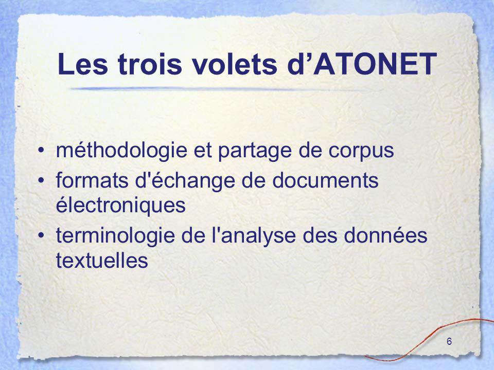 57 Cette première utilisation combinée de logiciels d analyse textuelle a été grandement facilitée par les protocoles d échange de données réalisées par le réseau ATONET.