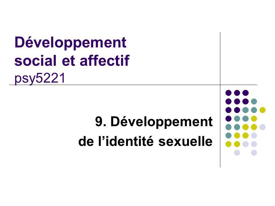 Développement social et affectif psy5221 9. Développement de lidentité sexuelle