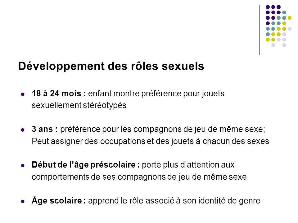 18 à 24 mois : enfant montre préférence pour jouets sexuellement stéréotypés 3 ans : préférence pour les compagnons de jeu de même sexe; Peut assigner