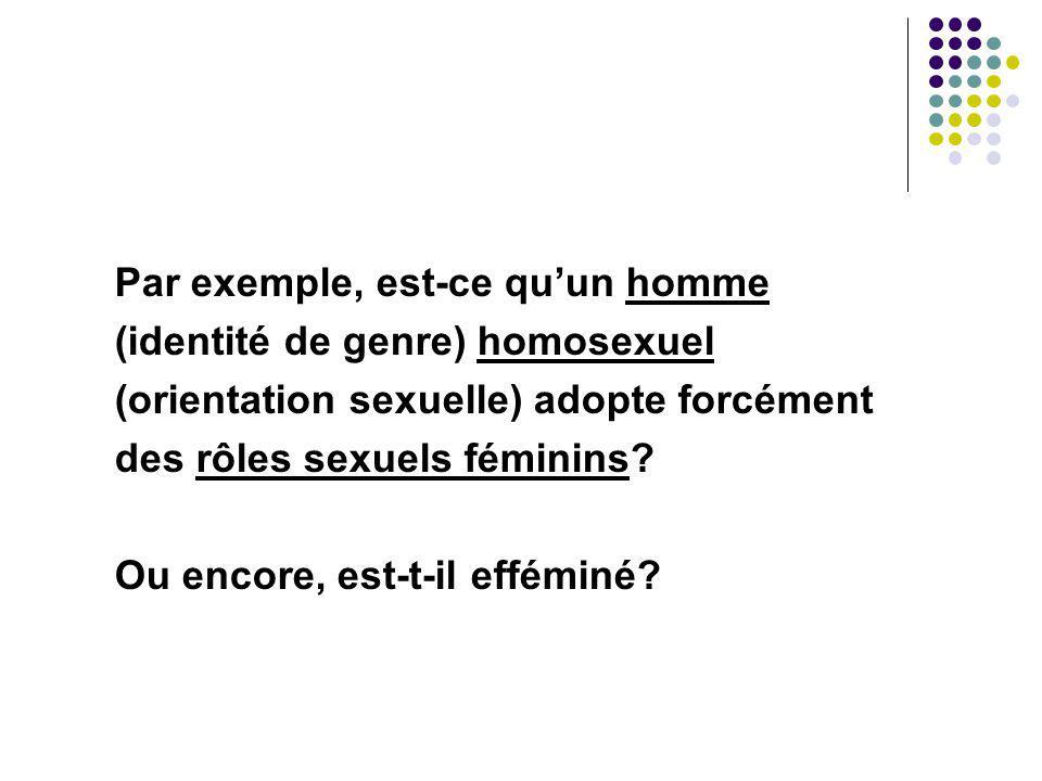 Par exemple, est-ce quun homme (identité de genre) homosexuel (orientation sexuelle) adopte forcément des rôles sexuels féminins? Ou encore, est-t-il