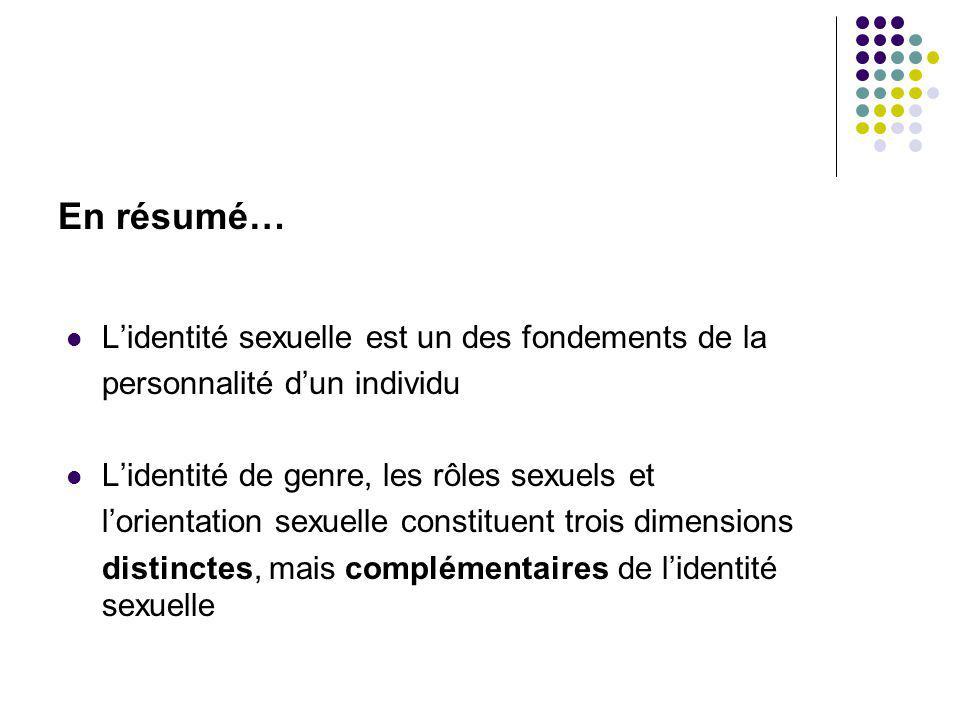 Lidentité sexuelle est un des fondements de la personnalité dun individu Lidentité de genre, les rôles sexuels et lorientation sexuelle constituent tr