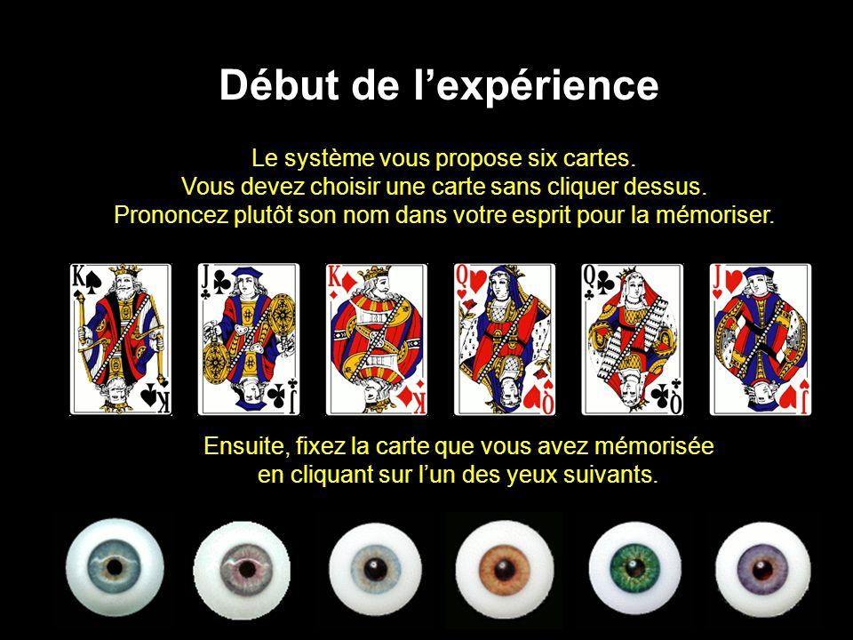 Le système vous propose six cartes. Vous devez choisir une carte sans cliquer dessus.