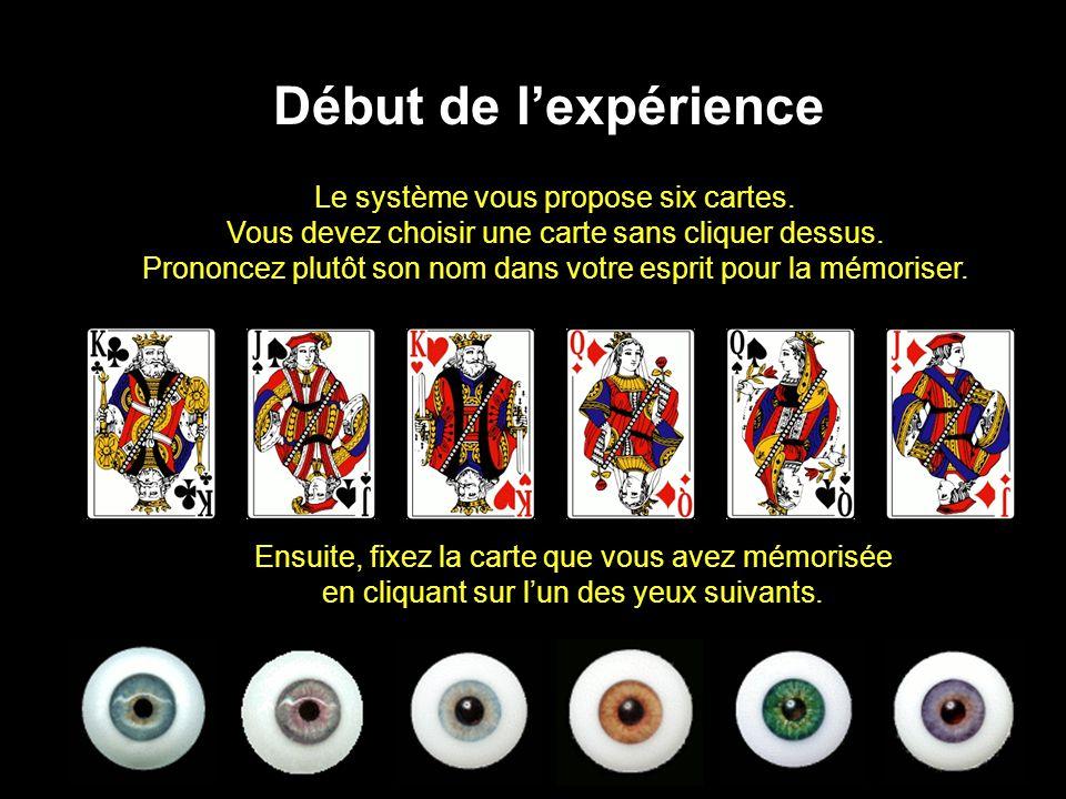 Le système vous propose six cartes. Vous devez choisir une carte sans cliquer dessus. Prononcez plutôt son nom dans votre esprit pour la mémoriser. Dé
