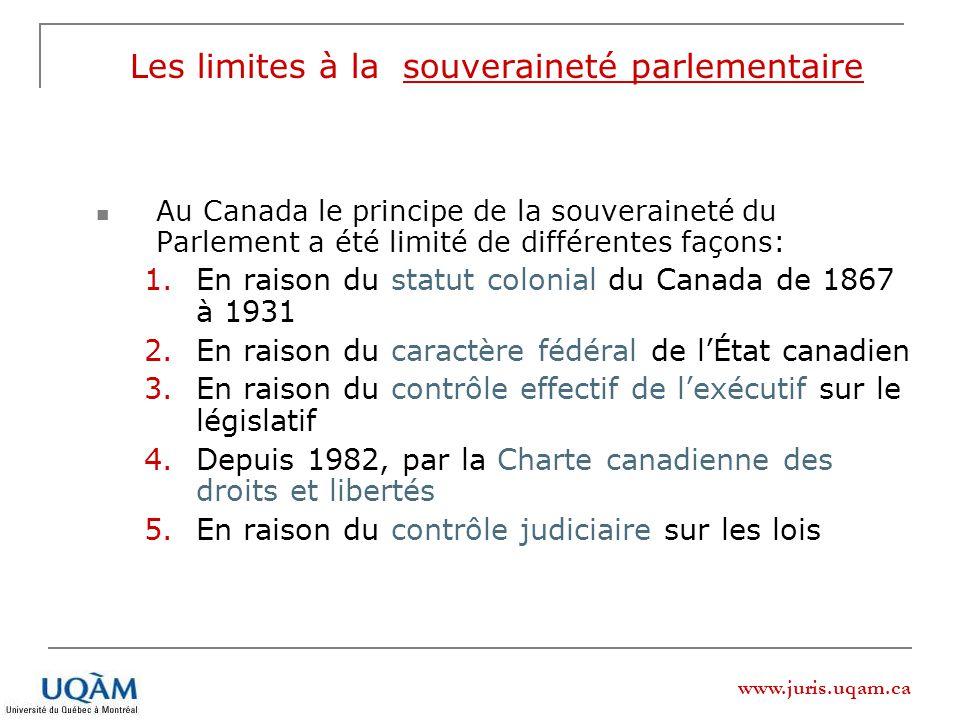 www.juris.uqam.ca Les limites à la souveraineté parlementaire Au Canada le principe de la souveraineté du Parlement a été limité de différentes façons