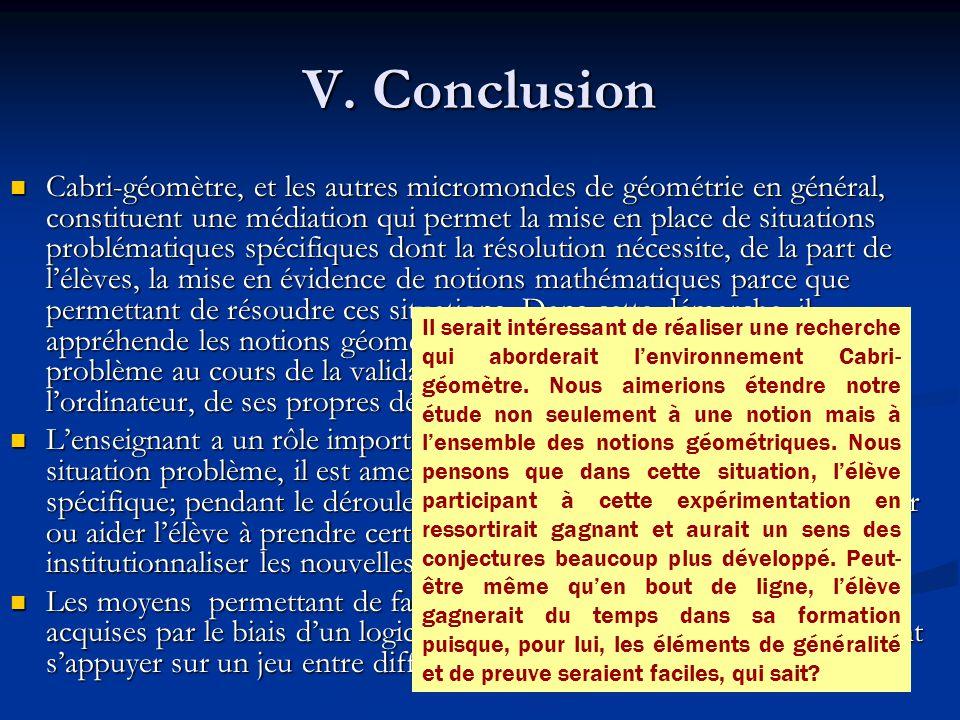 V. Conclusion Cabri-géomètre, et les autres micromondes de géométrie en général, constituent une médiation qui permet la mise en place de situations p