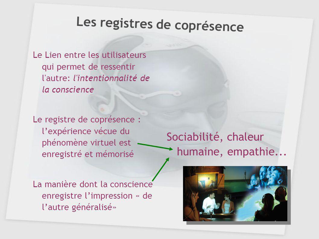 Les registres de coprésence Le Lien entre les utilisateurs qui permet de ressentir l'autre: l'intentionnalité de la conscience Le registre de coprésen