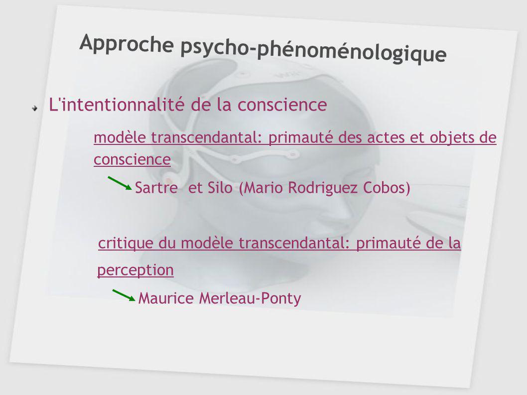 Approche psycho-phénoménologique L'intentionnalité de la conscience modèle transcendantal: primauté des actes et objets de conscience Sartre et Silo (
