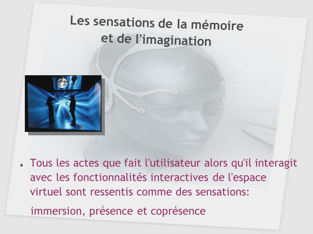 Le registre d immersion Aptitude d aperception l attention dirigée par la conscience est mise sur le sens en mouvement (la vue) les seuils des autres sens se réduisent (changement de perspective) l utilisateur a la sensation d être enveloppé par l espace virtuel