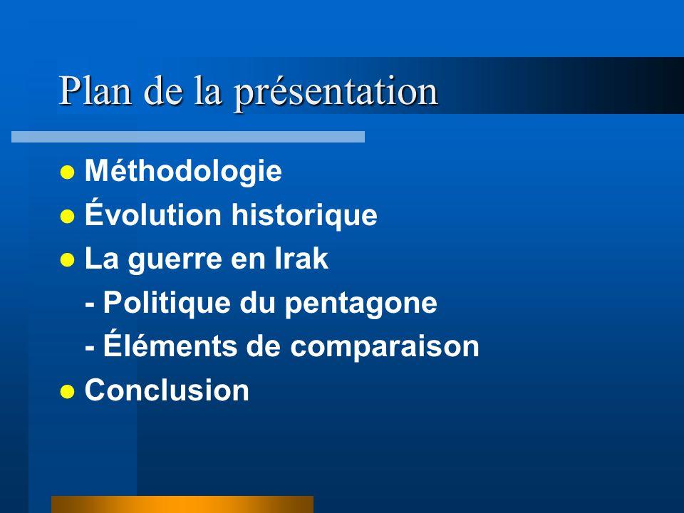 Plan de la présentation Méthodologie Évolution historique La guerre en Irak - Politique du pentagone - Éléments de comparaison Conclusion