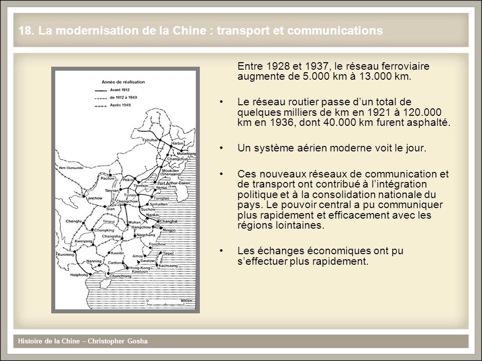 Entre 1928 et 1937, le réseau ferroviaire augmente de 5.000 km à 13.000 km. Le réseau routier passe dun total de quelques milliers de km en 1921 à 120