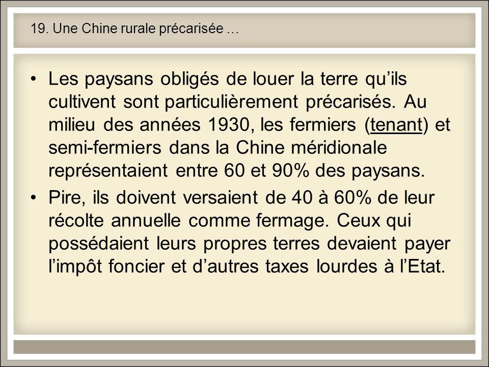 19. Une Chine rurale précarisée … Les paysans obligés de louer la terre quils cultivent sont particulièrement précarisés. Au milieu des années 1930, l