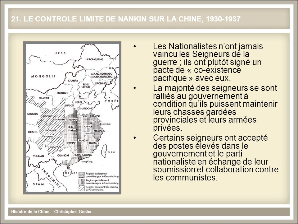 Les Nationalistes nont jamais vaincu les Seigneurs de la guerre ; ils ont plutôt signé un pacte de « co-existence pacifique » avec eux. La majorité de
