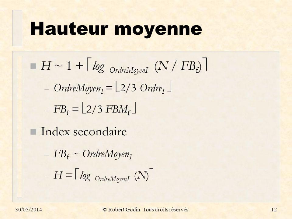 30/05/2014© Robert Godin. Tous droits réservés.12 Hauteur moyenne n H ~ 1 + log OrdreMoyenI (N / FB f ) – OrdreMoyen I = 2/3 Ordre I – FB f = 2/3 FBM