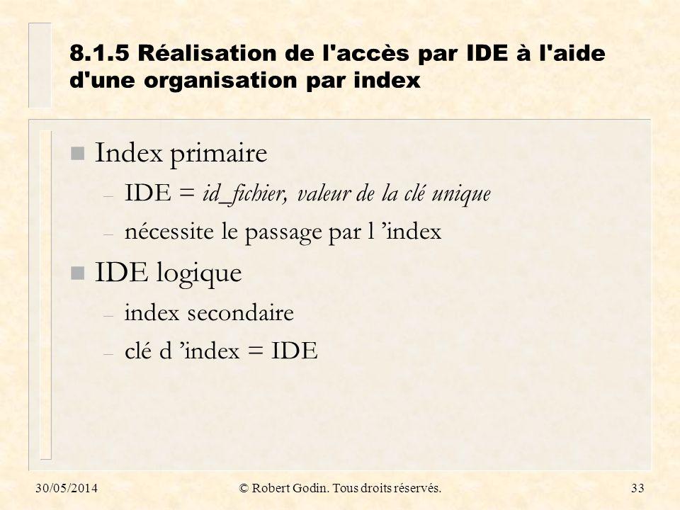 30/05/2014© Robert Godin. Tous droits réservés.33 8.1.5Réalisation de l'accès par IDE à l'aide d'une organisation par index n Index primaire – IDE = i