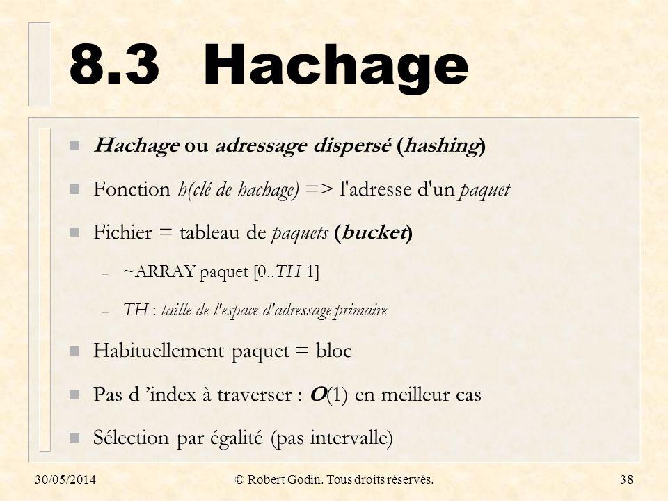 30/05/2014© Robert Godin. Tous droits réservés.38 8.3Hachage n Hachage ou adressage dispersé (hashing) n Fonction h(clé de hachage) => l'adresse d'un