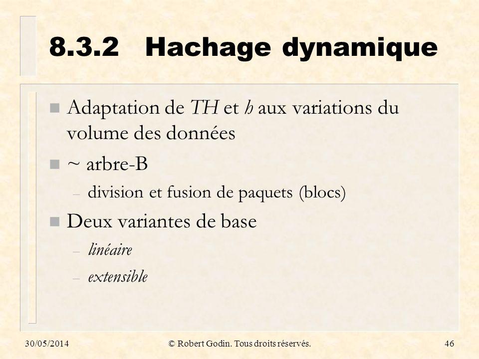 30/05/2014© Robert Godin. Tous droits réservés.46 8.3.2Hachage dynamique n Adaptation de TH et h aux variations du volume des données n ~ arbre-B – di