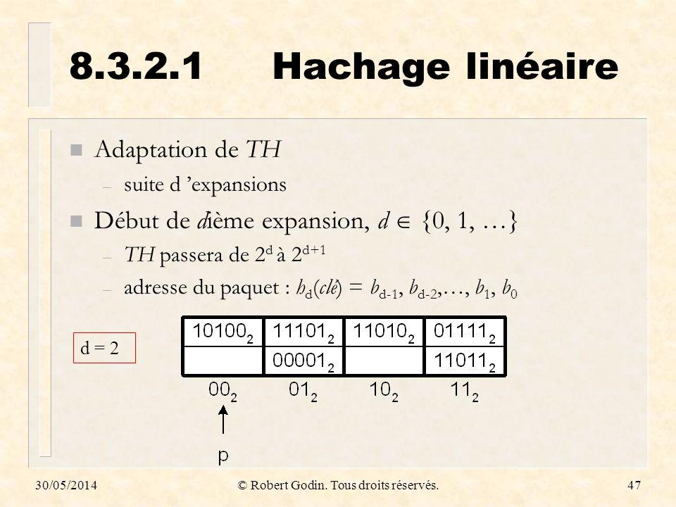 30/05/2014© Robert Godin. Tous droits réservés.47 8.3.2.1Hachage linéaire n Adaptation de TH – suite d expansions n Début de dième expansion, d {0, 1,