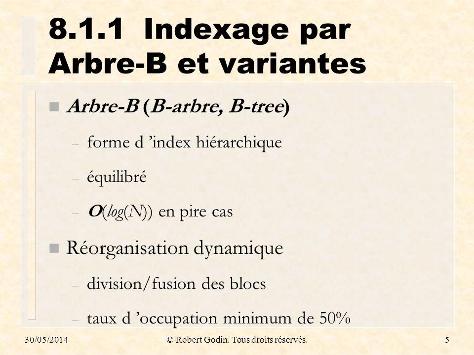 30/05/2014© Robert Godin. Tous droits réservés.5 8.1.1Indexage par Arbre-B et variantes n Arbre-B (B-arbre, B-tree) – forme d index hiérarchique – équ