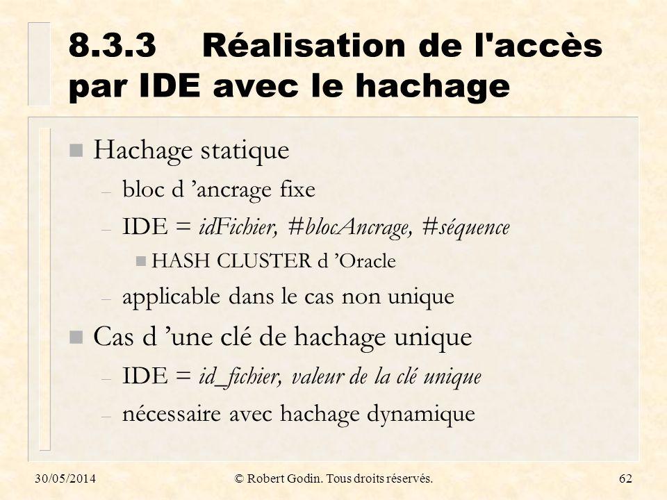 30/05/2014© Robert Godin. Tous droits réservés.62 8.3.3Réalisation de l'accès par IDE avec le hachage n Hachage statique – bloc d ancrage fixe – IDE =