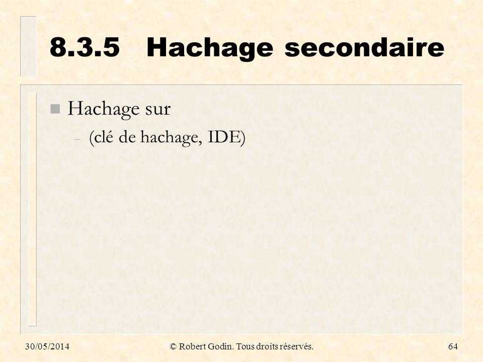 30/05/2014© Robert Godin. Tous droits réservés.64 8.3.5Hachage secondaire n Hachage sur – (clé de hachage, IDE)