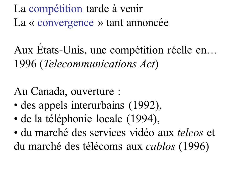 La compétition tarde à venir La « convergence » tant annoncée Aux États-Unis, une compétition réelle en… 1996 (Telecommunications Act) Au Canada, ouverture : des appels interurbains (1992), de la téléphonie locale (1994), du marché des services vidéo aux telcos et du marché des télécoms aux cablos (1996)