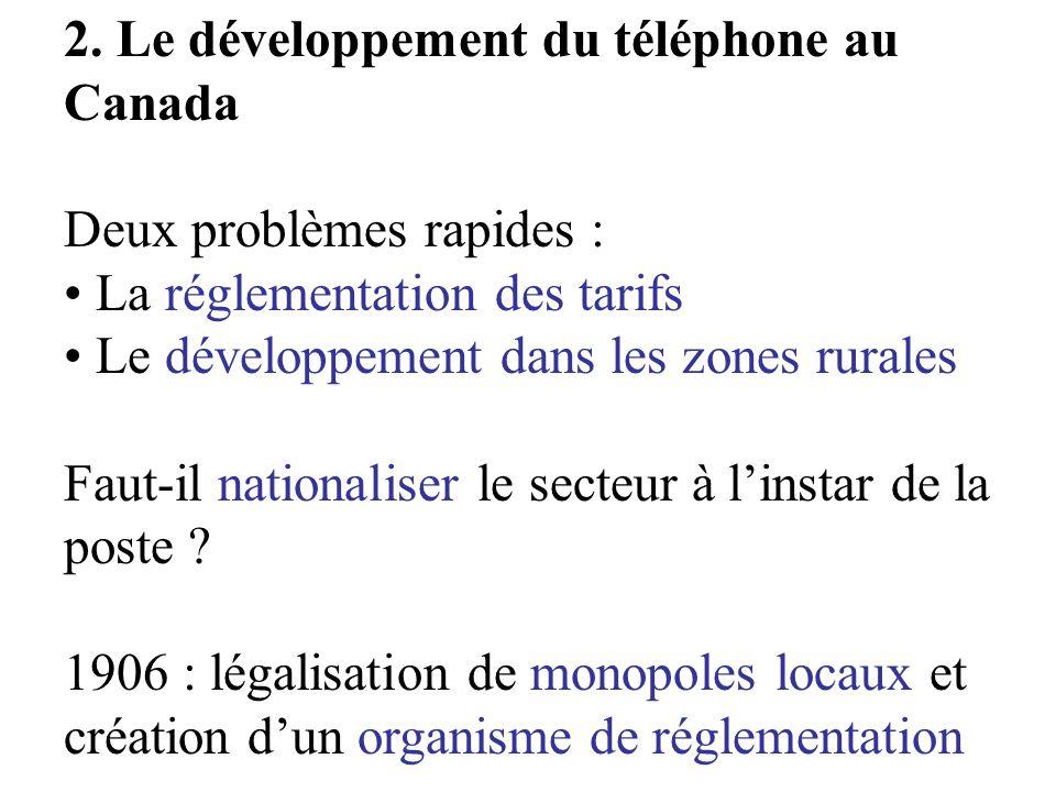 2. Le développement du téléphone au Canada Deux problèmes rapides : La réglementation des tarifs Le développement dans les zones rurales Faut-il natio