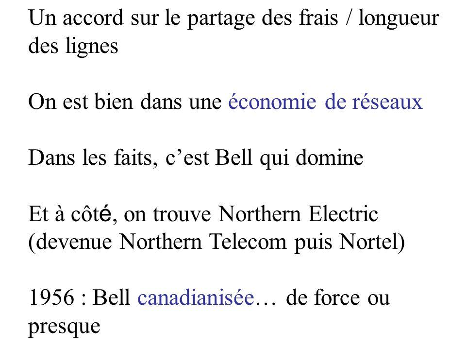 Un accord sur le partage des frais / longueur des lignes On est bien dans une économie de réseaux Dans les faits, cest Bell qui domine Et à côt é, on trouve Northern Electric (devenue Northern Telecom puis Nortel) 1956 : Bell canadianisée… de force ou presque