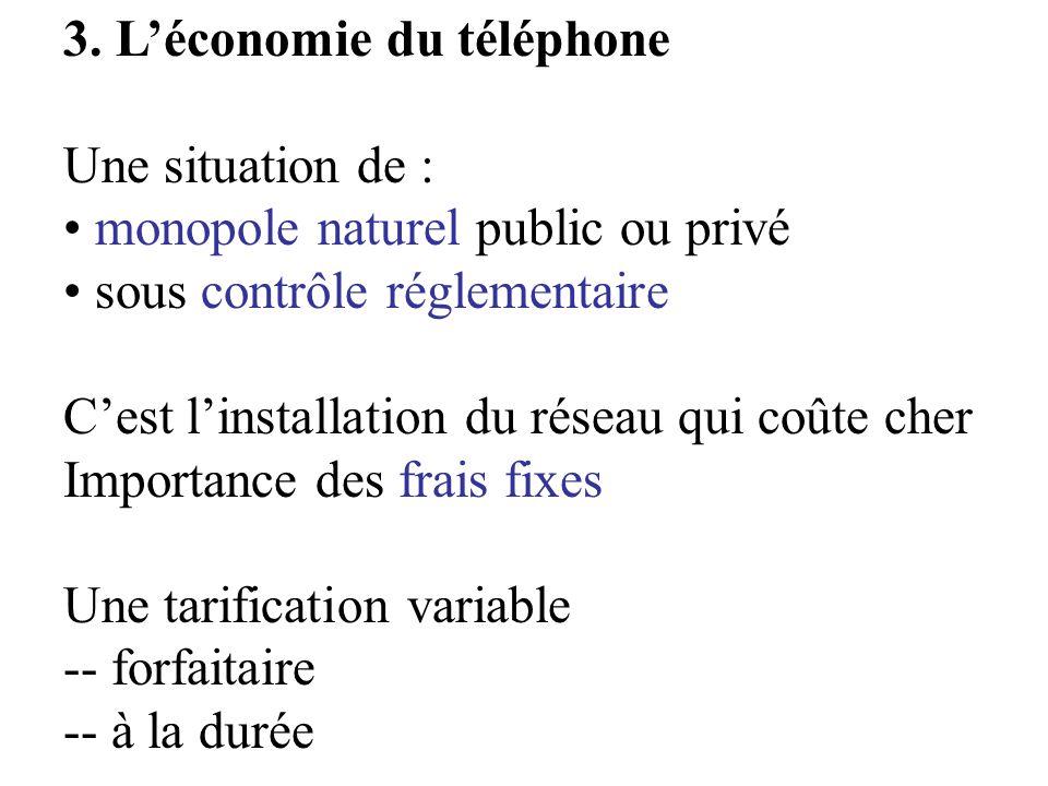 3. Léconomie du téléphone Une situation de : monopole naturel public ou privé sous contrôle réglementaire Cest linstallation du réseau qui coûte cher