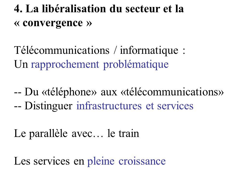 4. La libéralisation du secteur et la « convergence » Télécommunications / informatique : Un rapprochement problématique -- Du «téléphone» aux «téléco