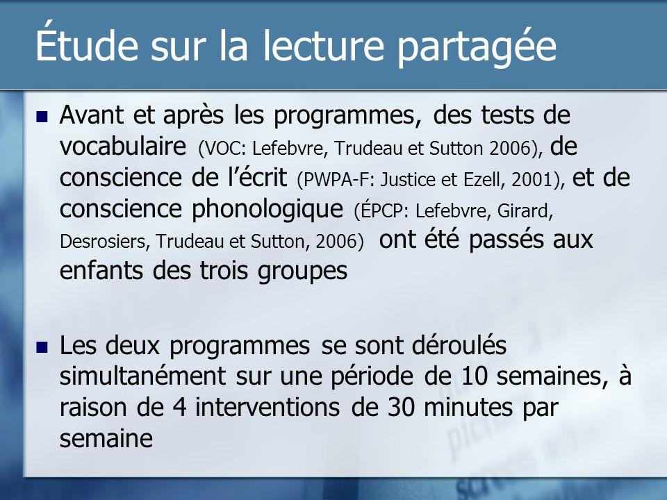 Étude sur la lecture partagée Avant et après les programmes, des tests de vocabulaire (VOC: Lefebvre, Trudeau et Sutton 2006), de conscience de lécrit