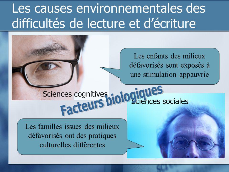 Les causes environnementales des difficultés de lecture et décriture Sciences sociales Sciences cognitives Les enfants des milieux défavorisés sont ex