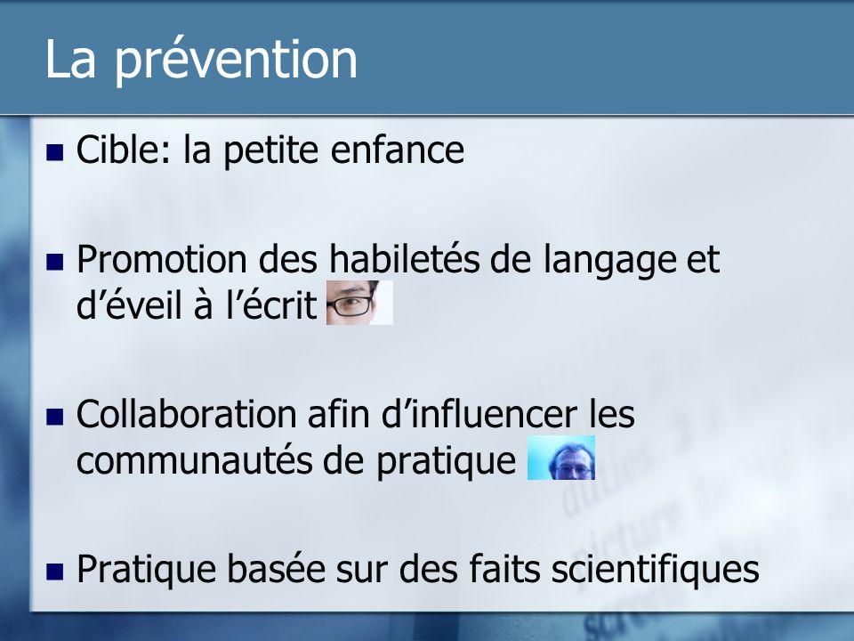 La prévention Cible: la petite enfance Promotion des habiletés de langage et déveil à lécrit Collaboration afin dinfluencer les communautés de pratiqu