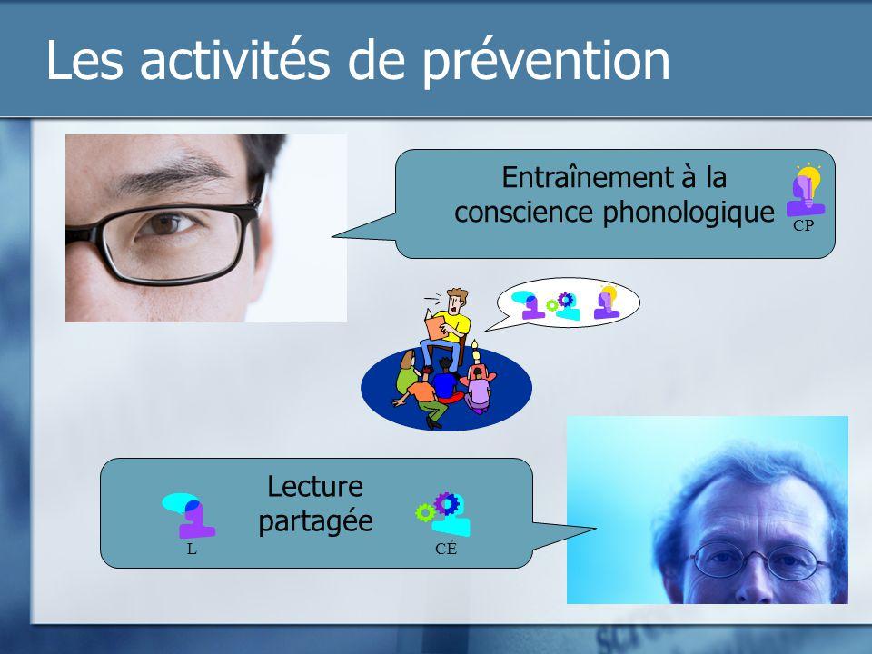 Les activités de prévention Entraînement à la conscience phonologique Lecture partagée CP CÉL
