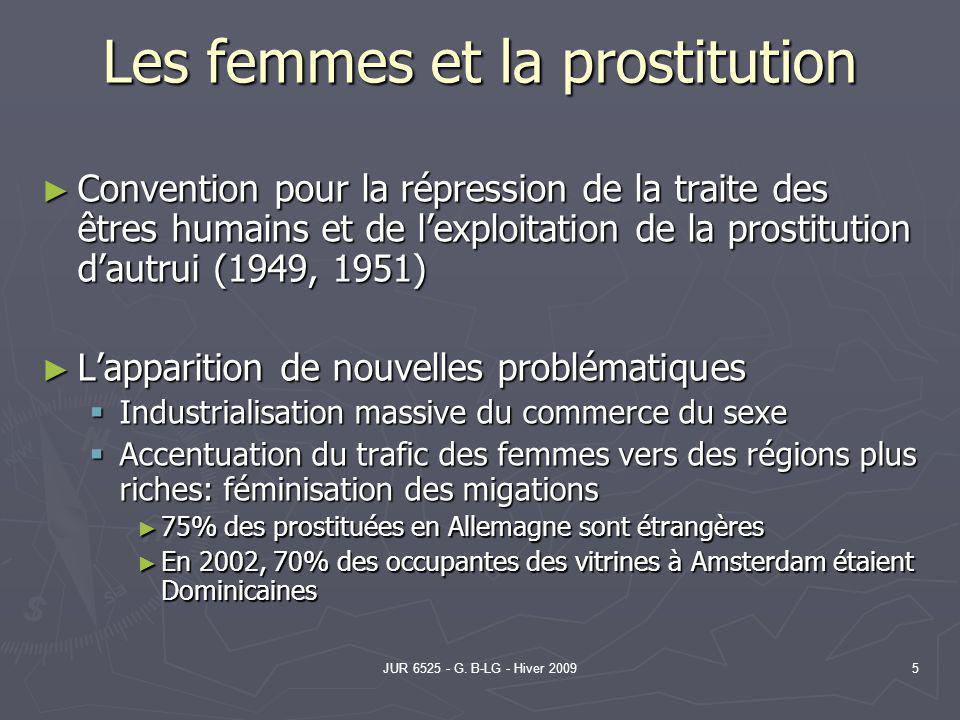 JUR 6525 - G. B-LG - Hiver 20095 Les femmes et la prostitution Convention pour la répression de la traite des êtres humains et de lexploitation de la