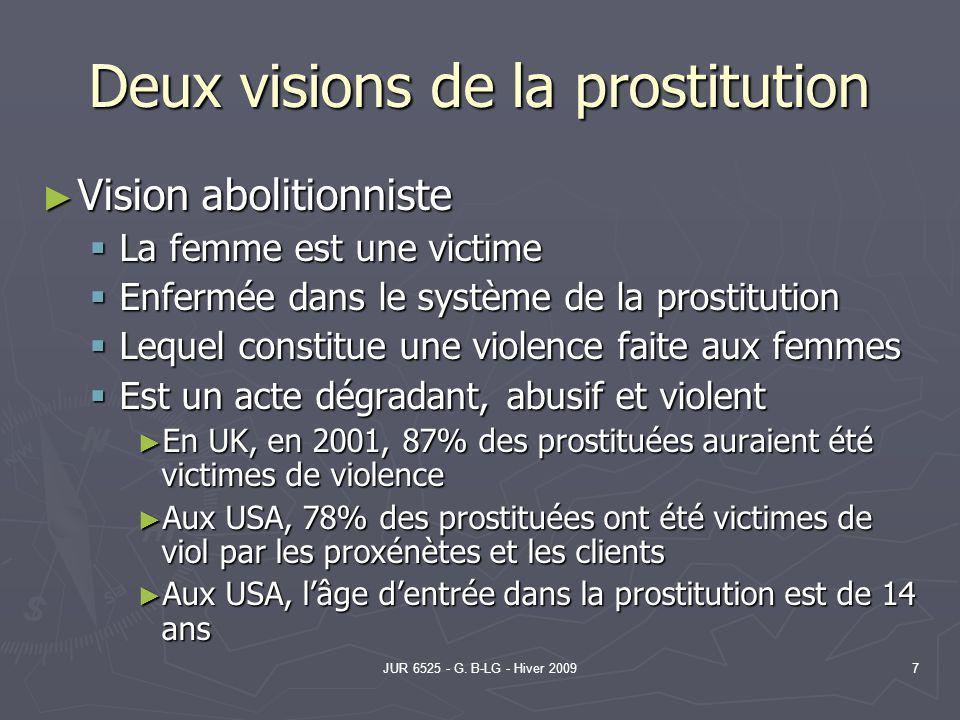 JUR 6525 - G. B-LG - Hiver 20097 Deux visions de la prostitution Vision abolitionniste Vision abolitionniste La femme est une victime La femme est une