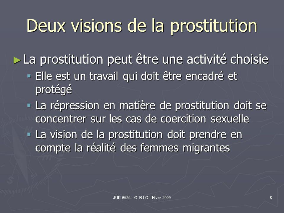 JUR 6525 - G. B-LG - Hiver 20098 Deux visions de la prostitution La prostitution peut être une activité choisie La prostitution peut être une activité