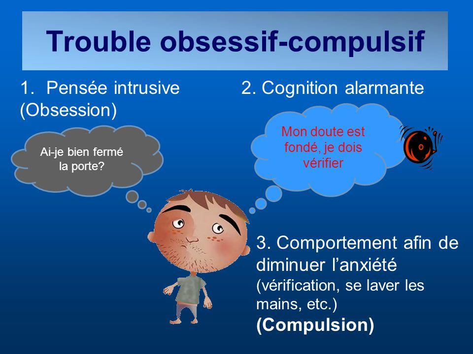 Trouble obsessif-compulsif Mon doute est fondé, je dois vérifier Ai-je bien fermé la porte? 2. Cognition alarmante 3. Comportement afin de diminuer la