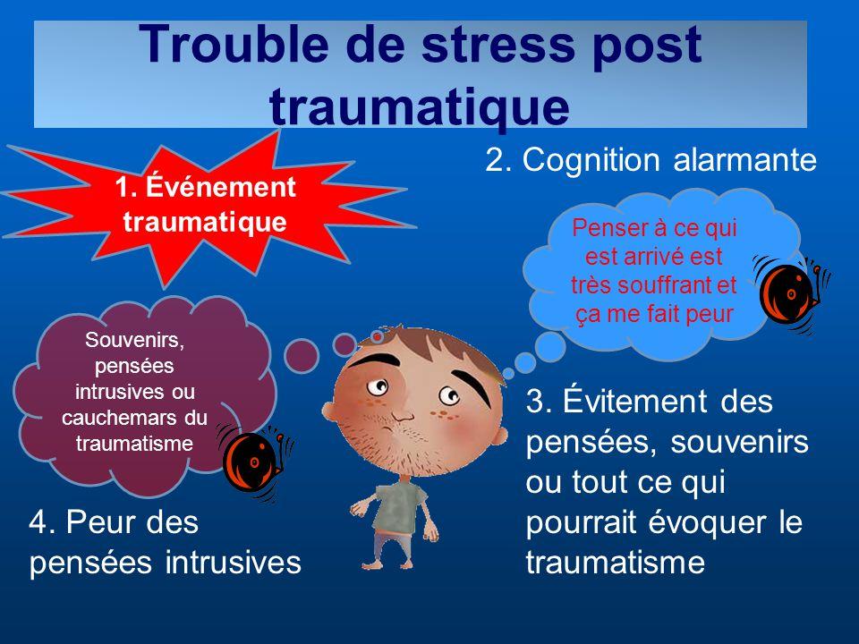 Trouble de stress post traumatique Penser à ce qui est arrivé est très souffrant et ça me fait peur 1. Événement traumatique 2. Cognition alarmante 3.