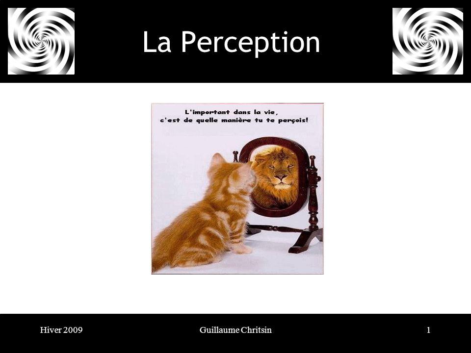 Hiver 2009Guillaume Chritsin2 La Perception La perception va bien au-delà de la simple réplication de linformation visuelle fournie par la rétine.