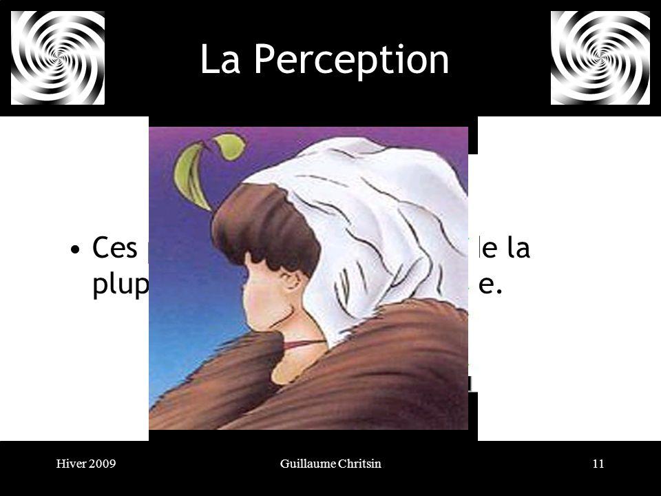 Hiver 2009Guillaume Chritsin11 La Perception Ces principes sont à la base de la plupart des illusions doptique.