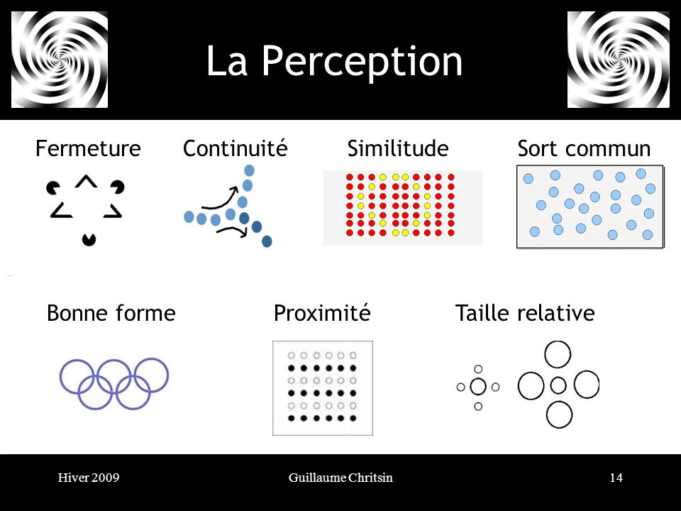 Hiver 2009Guillaume Chritsin14 La Perception FermetureContinuitéSimilitudeSort commun Bonne formeProximitéTaille relative