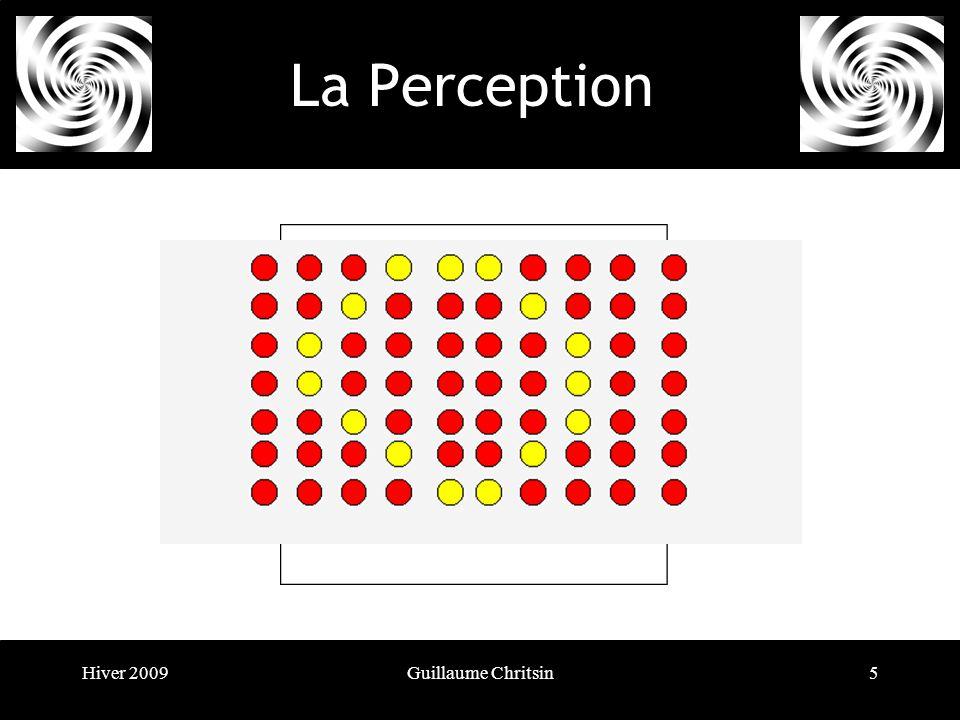 Hiver 2009Guillaume Chritsin6 La Perception Le principe du sort commun Les éléments apparaissent groupés lorsquils présentent des mouvements de même direction et de même vitesse.