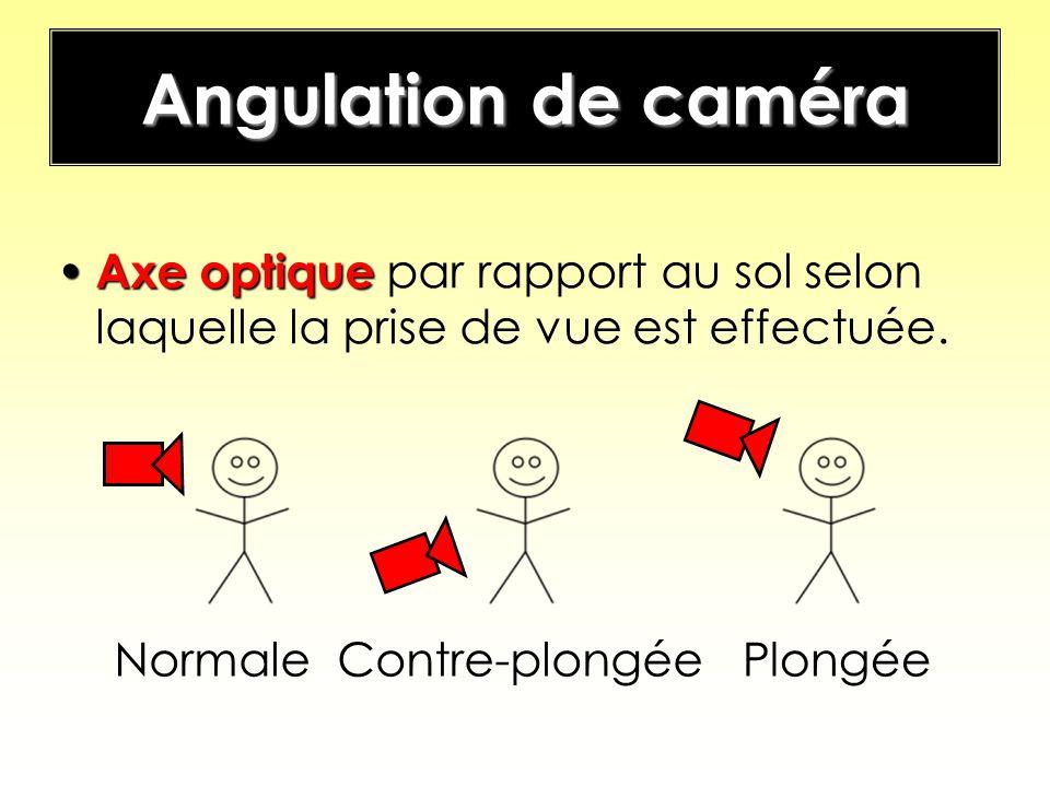 Angulation de caméra Axe optique Axe optique par rapport au sol selon laquelle la prise de vue est effectuée. PlongéeContre-plongéeNormale