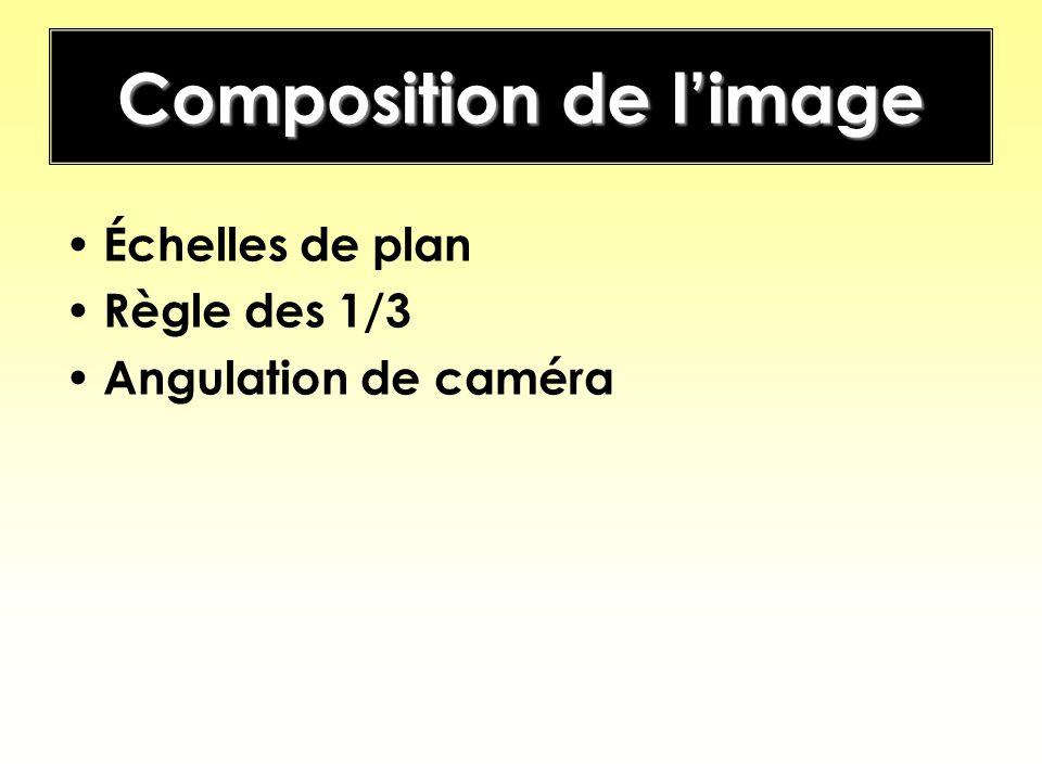 Composition de limage Échelles de plan Règle des 1/3 Angulation de caméra