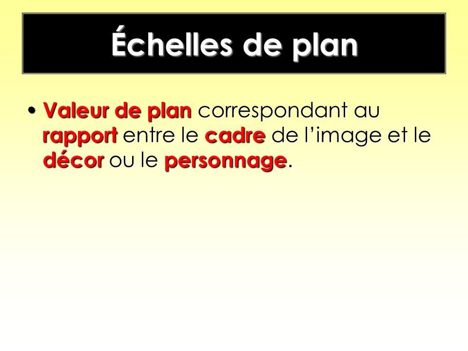 Échelles de plan Valeur de plan correspondant au rapport entre le cadre de limage et le décor ou le personnage. Valeur de plan correspondant au rappor